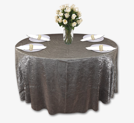 Charcoal Grey Crushed Shimmer Table Linen Rental Tablecloth