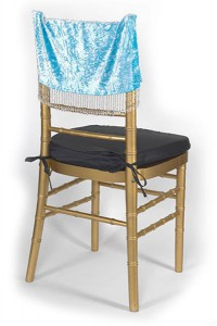 Crystal Blue Crushed Velvet Chair Cap