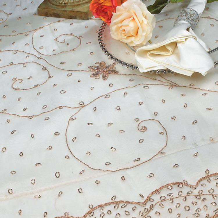 Antique White Metallic Princess Silk