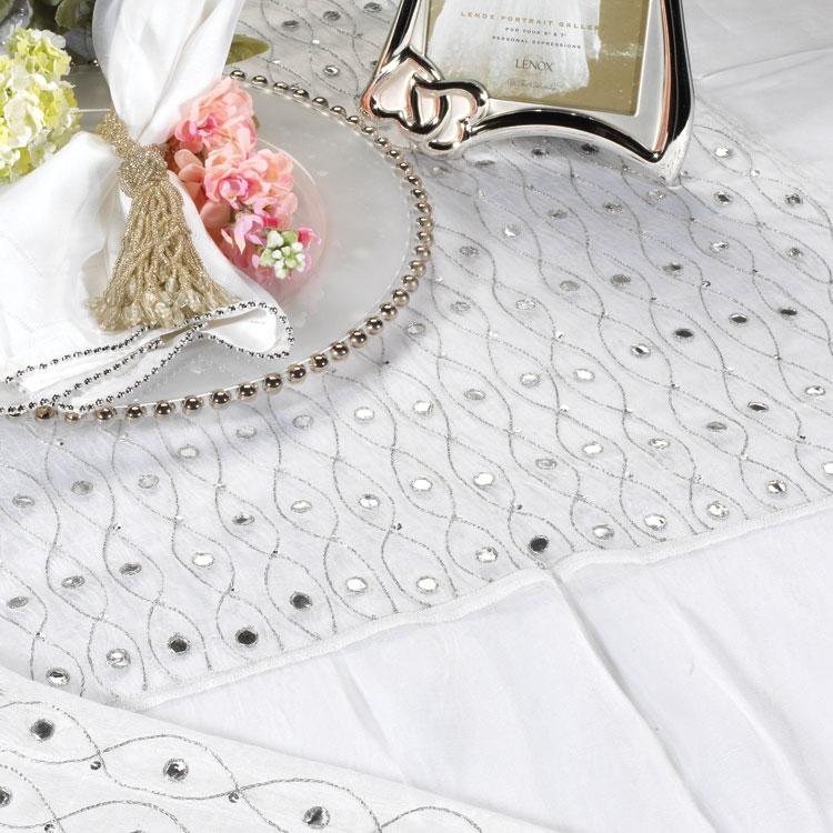 Aspen White Mirrored Silk