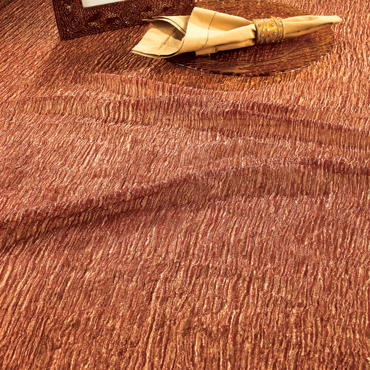 Brown & Gold Crinkle Silk