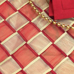 Cranberry & Gold Interwoven