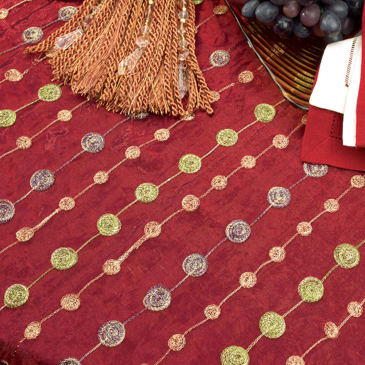 Crimson Jeweled Silk Organza