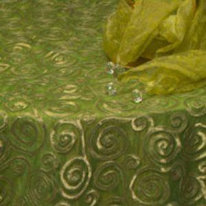 Green & Gold Swirl Silk