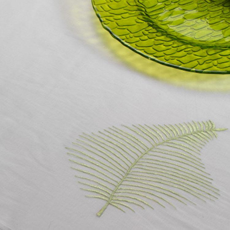 Green & White Fern Organza