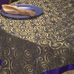 Indigo & Gold Swirl Silk