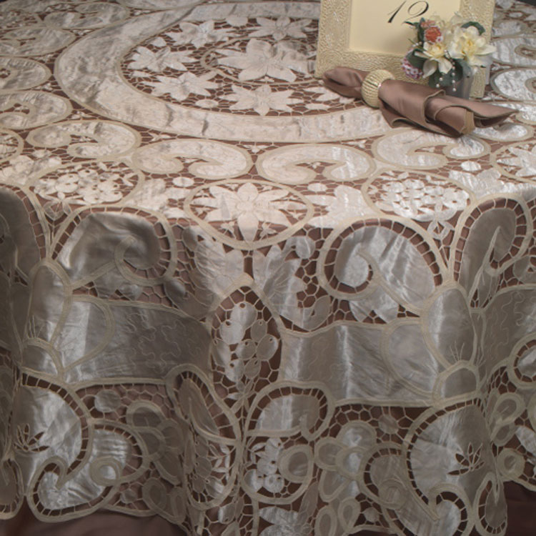 Ivory Satin Victorian Lace Table Linen Rental Tablecloth