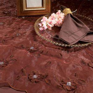 Mocha Floral Sequin Silk