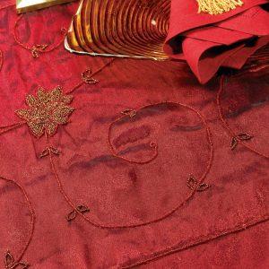 Scarlet Gold Pearl Silk