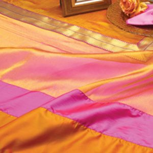 Tangerine & Fuchsia Delhi Shimmer Silk