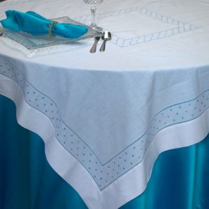 White Hemstitch with Blue Dots