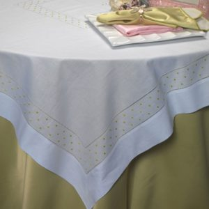 White Hemstitch with Green Dots