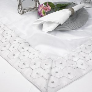 White Hexagon Pearl Silk