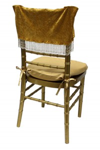 Gold Panne Velvet with Beads Chair Cap