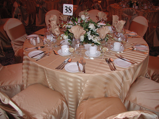 Gold Imperial Satin Stripe Table Linen Rental Tablecloth