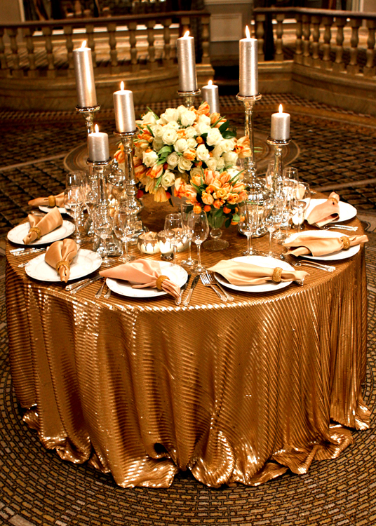Gold Piano Sequin Table Linen Rental Tablecloth Cloth