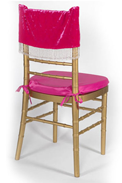 Hot Pink Plush Velvet with Beads Chair Cap