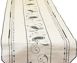 Ivory Black Beaded Paisley Table Runner