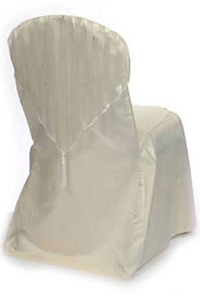 Ivory Stripe Sheer with Tassel Chair Cap