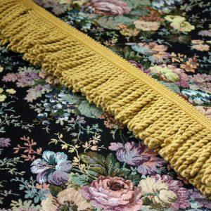Black Tapestry Gold Fringe
