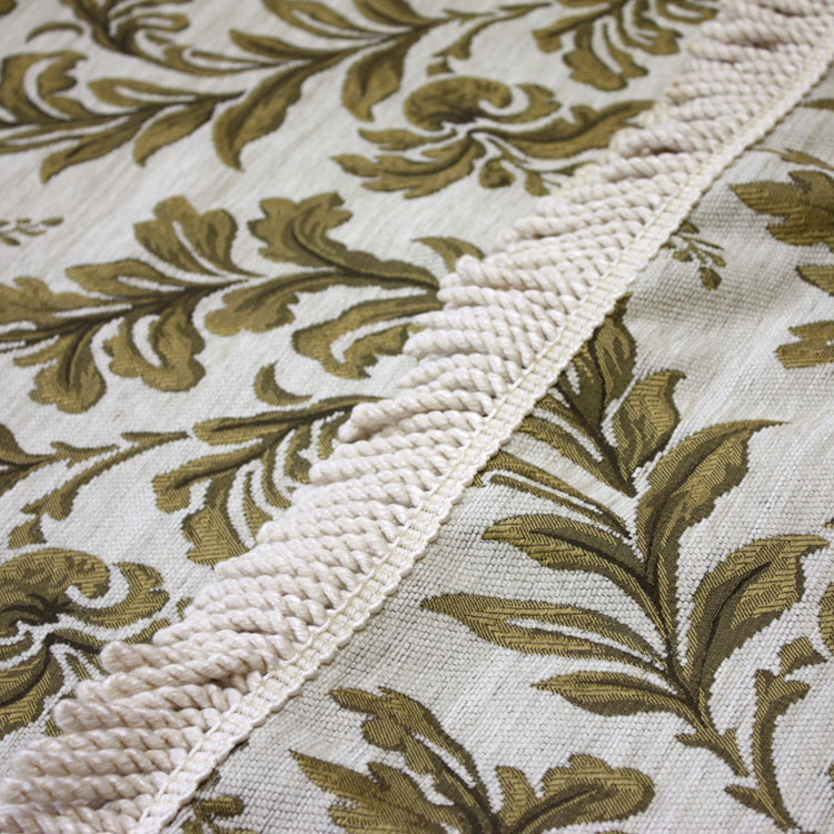Taupe Leaf Tapestry with Fringe