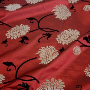Crimson Garden Flock Taffeta