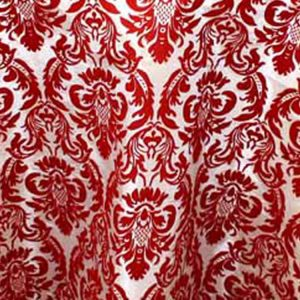 Red & White Flock Damask