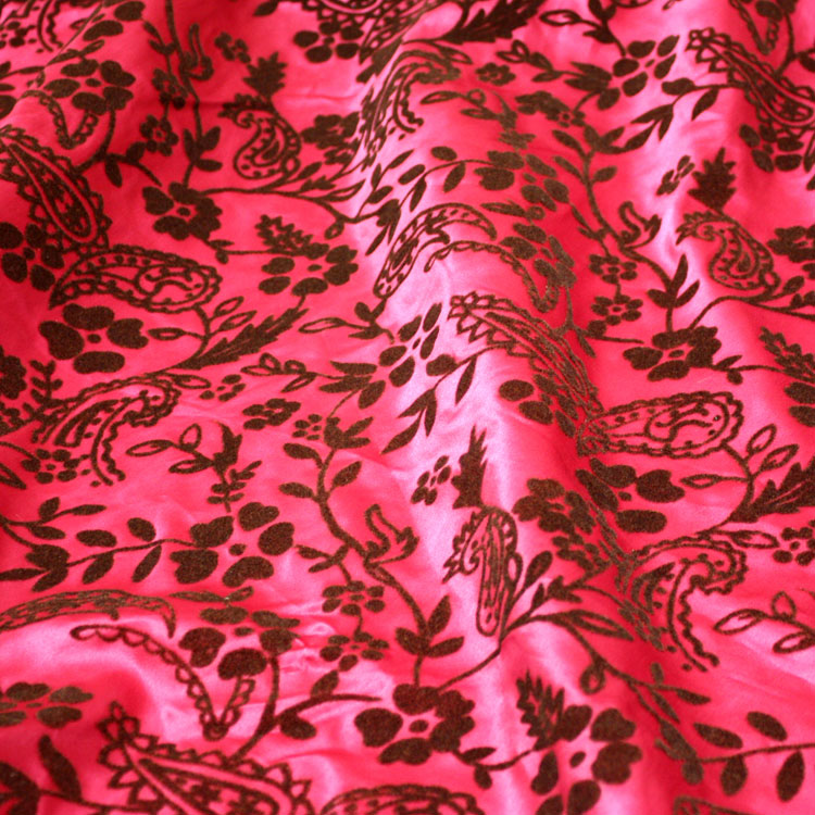 Fuchsia and Brown Flock Taffeta