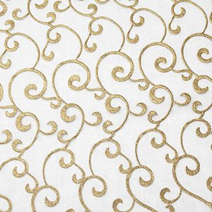 Gold and White Scroll Sheer