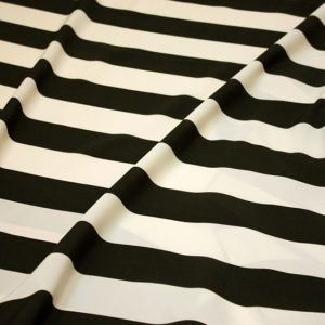 Black & Ecru Wide Stripe Taffeta