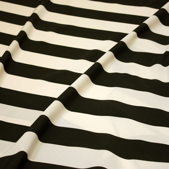 Black & Ecru Wide Stripe Taffeta
