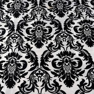 Black & White Flock Damask