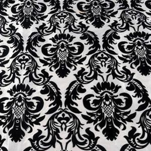 Black & White Flock Damask