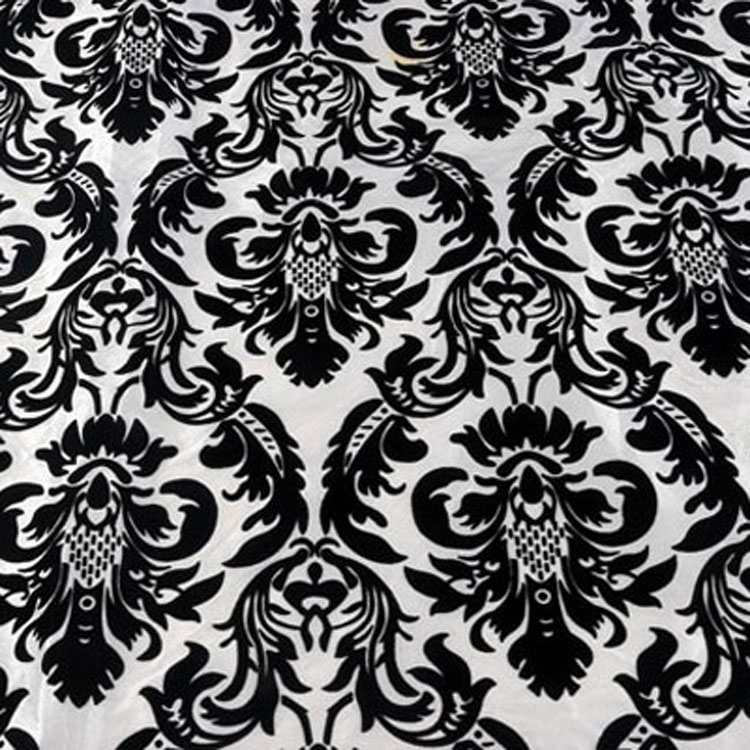 Black And White Flock Damask Table Linen Rental Tablecloth