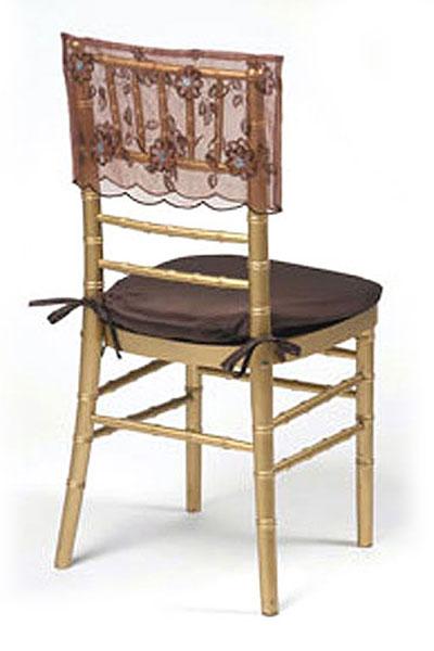 Mocha Floral Sequin Silk Chair Cap