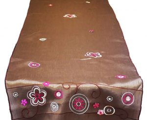 Mocha Jeweled Embroidered Table Runner