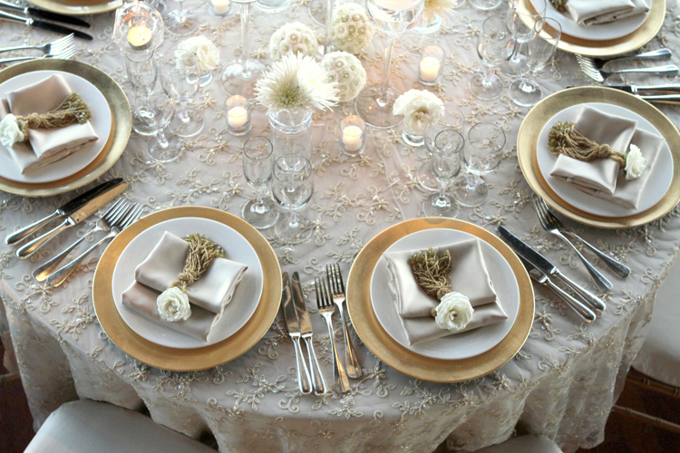 Gold Pearl Lace Table Linen Rental Tablecloth