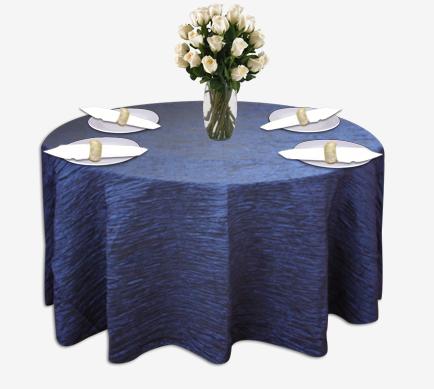 Royal Blue Crinkle Taffeta Table Linen Rental Tablecloth