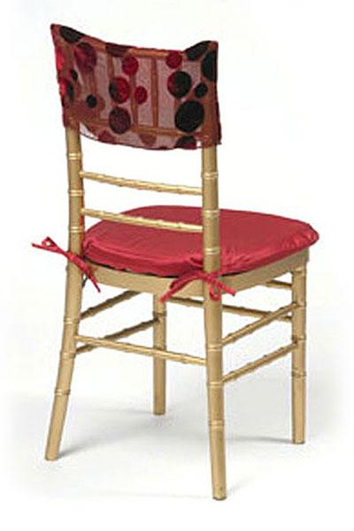 Scarlet Red Velvet Burnout Chair Cap