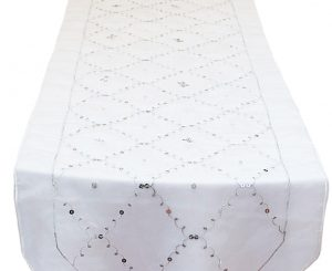 Silver Sequin Organza Table Runner