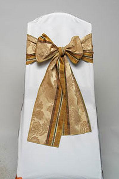 Gold Italian Stripe Damask Tie