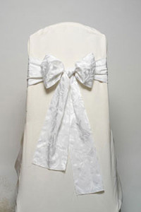 Wedding White Damask Tie