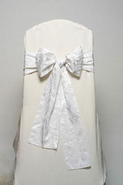 Wedding White Damask Tie