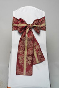 Wine Italian Stripe Damask Tie