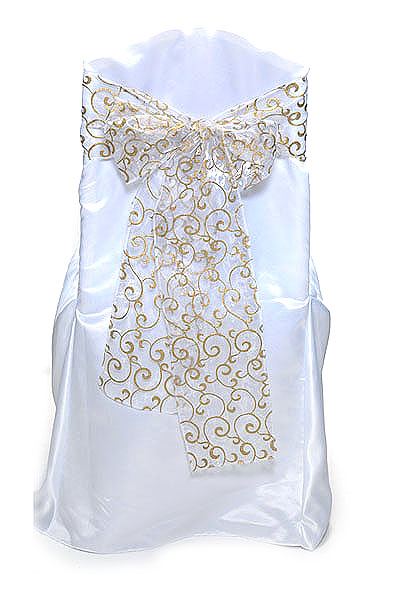 Gold White Scroll Sheer Tie