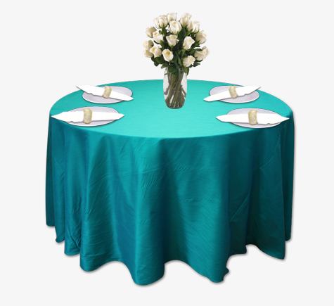 Teal Poly Dupioni Table Linen Rental Tablecloth