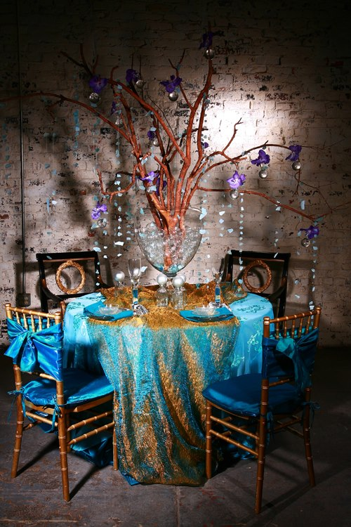 Turquoise Gold Crushed Shimmer Table Linen Rental Tablecloth