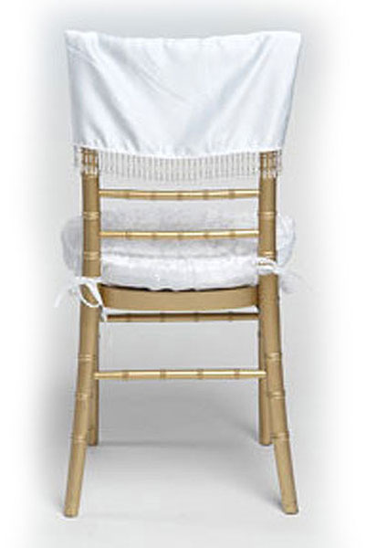 White Lamour with Beads Chair Cap