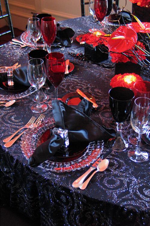 Black Amp Gold Swirl Brocade Table Linen