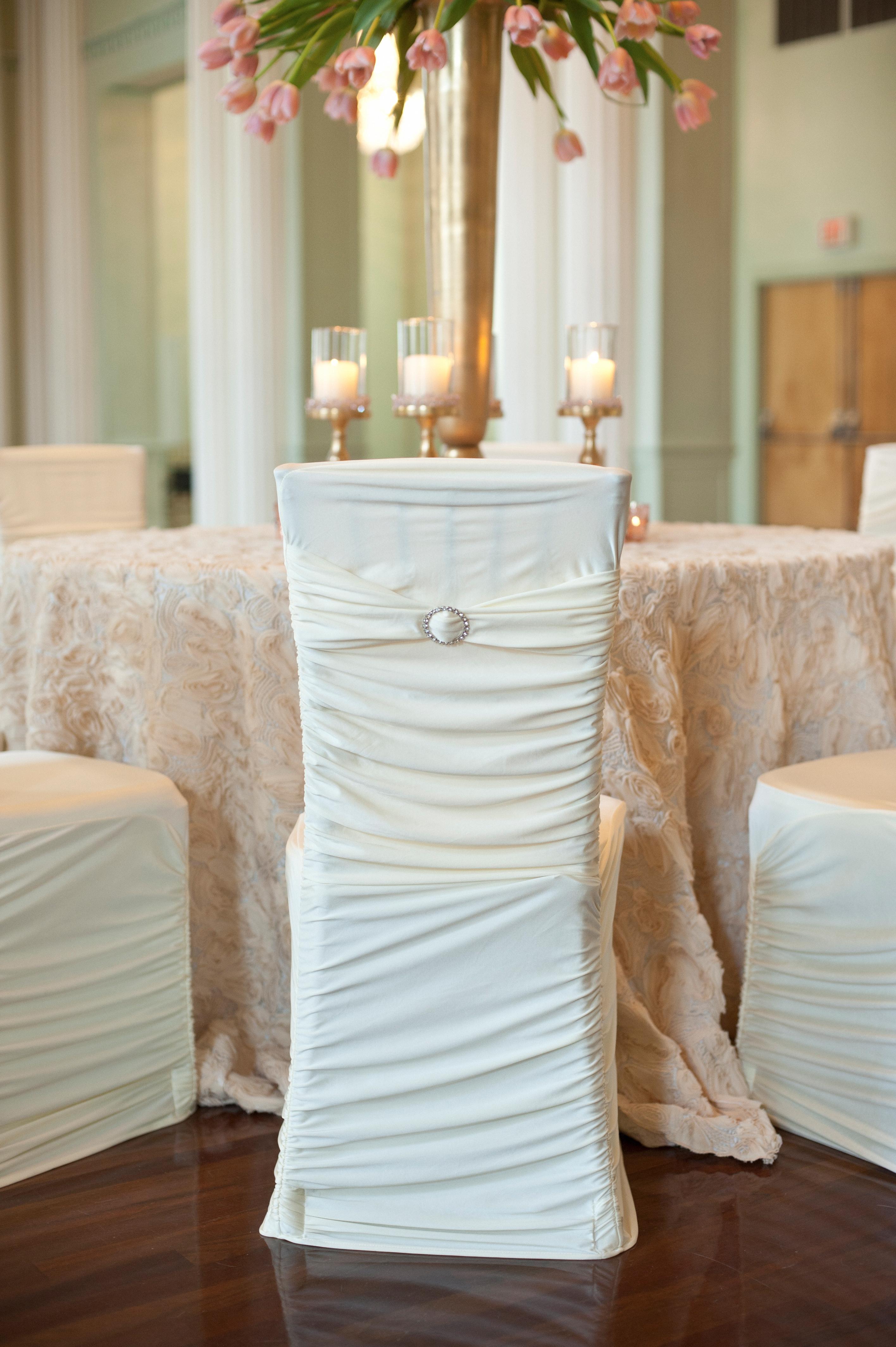 White Stretch Ribbed Chivari Chair Cover